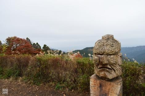 Une statue de bois au Mont Shiroyama